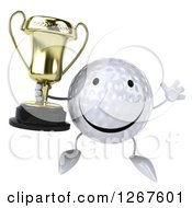 Clipart Of A 3d Happy Golf Ball Character Jumping And Holding A Trophy Royalty Free Illustration
