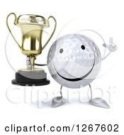 Clipart Of A 3d Happy Golf Ball Character Holding Up A Finger And A Trophy Royalty Free Illustration