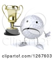 Clipart Of A 3d Unhappy Golf Ball Character Shrugging And Holding A Trophy Royalty Free Illustration