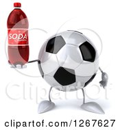 Clipart Of A 3d Soccer Ball Character Holding A Soda Bottle Royalty Free Illustration
