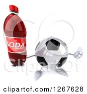 Clipart Of A 3d Soccer Ball Character Holding A Thumb Up And A Soda Bottle Royalty Free Illustration