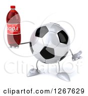 Clipart Of A 3d Soccer Ball Character Shrugging And Holding A Soda Bottle Royalty Free Illustration