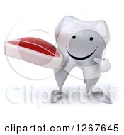 Clipart Of A 3d Happy Tooth Character Holding And Pointing To A Beef Steak Royalty Free Illustration