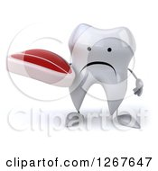 Clipart Of A 3d Unhappy Tooth Character Holding A Beef Steak Royalty Free Illustration