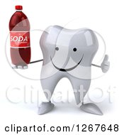 Clipart Of A 3d Happy Tooth Character Holding A Soda Bottle And Thumb Up Royalty Free Illustration