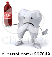 Clipart Of A 3d Unhappy Tooth Character Shrugging And Holding A Soda Bottle Royalty Free Illustration