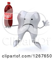 Clipart Of A 3d Unhappy Tooth Character Jumping And Holding A Soda Bottle Royalty Free Illustration