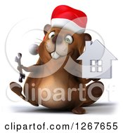Clipart Of A 3d Christmas Beaver Walking With A Wrench And Chrome House Royalty Free Illustration