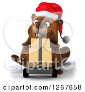 Clipart Of A 3d Christmas Beaver Moving Boxes On A Dolly Royalty Free Illustration