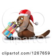 Clipart Of A 3d Christmas Beaver Moving Gifts On A Dolly Royalty Free Illustration