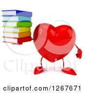 Clipart Of A 3d Heart Character Holding A Stack Of Books Royalty Free Illustration