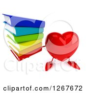 Clipart Of A 3d Heart Character Holding Up A Stack Of Books Royalty Free Illustration