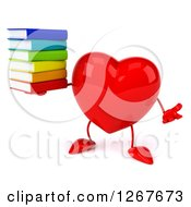 Clipart Of A 3d Heart Character Shrugging And Holding A Stack Of Books Royalty Free Illustration