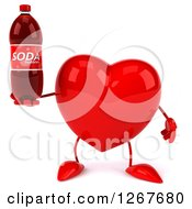 Clipart Of A 3d Heart Character Holding A Soda Bottle Royalty Free Illustration