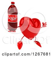 Clipart Of A 3d Heart Character Jumping And Holding A Soda Bottle Royalty Free Illustration