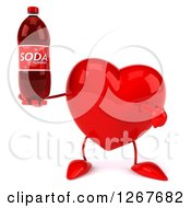 Clipart Of A 3d Heart Character Holding And Pointing To A Soda Bottle Royalty Free Illustration