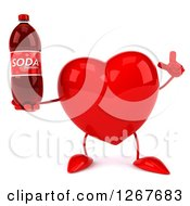 Clipart Of A 3d Heart Character Holding Up A Finger And A Soda Bottle Royalty Free Illustration