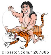 Long Haired Jungle Man Riding A Tiger