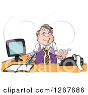 Clipart Of A White Male Bookkeeper Using A Calculator At His Desk Royalty Free Vector Illustration by LaffToon