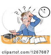 Clipart Of A Frustrated White Male Bookkeeper Pulling His Hair And Using A Calculator At His Desk Royalty Free Vector Illustration