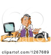 Clipart Of A Black Male Bookkeeper Using A Calculator At His Desk Royalty Free Vector Illustration by LaffToon