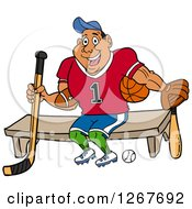 Clipart Of A Muscular Black Male Jock Sitting With Sports Equipment Royalty Free Vector Illustration by LaffToon