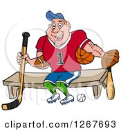 Clipart Of A Muscular White Male Jock Sitting With Sports Equipment Royalty Free Vector Illustration by LaffToon