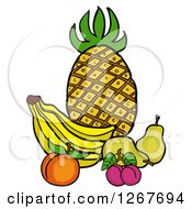 Clipart Of A Still Life Of Pineapple Bananas A Peach Plums And Pears Royalty Free Vector Illustration by LaffToon