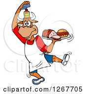 Clipart Of A Chef Bull Lifting His Hat To Show Bbq Sauce And Holding A Tray Of Brisket And Pulled Pork Royalty Free Vector Illustration by LaffToon