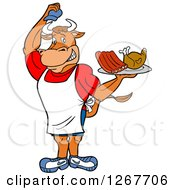 Clipart Of A Chef Bull Lifting His Hat And Holding A Tray Of Ribs And Chicken Royalty Free Vector Illustration by LaffToon