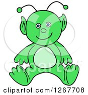 Clipart Of A Happy Green Alien Royalty Free Vector Illustration by LaffToon