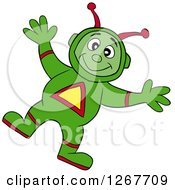 Clipart Of A Happy Green Alien Space Man Royalty Free Vector Illustration by LaffToon