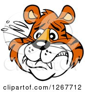 Clipart Of A Scared Tiger Face Royalty Free Vector Illustration