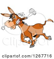 Clipart Of A Tough Angry Donkey Walking With A Cigar In His Mouth Royalty Free Vector Illustration by LaffToon