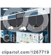 Clipart Of Facless Men Working At A Counter In An Automotive Car Parts Shop Royalty Free Vector Illustration