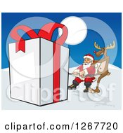 Clipart Of A Reindeer And Santa Pulling A Giant Gift Through The Snow Royalty Free Vector Illustration