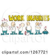 Clipart Of Caucasian Men With Work Injuries And Text Royalty Free Vector Illustration