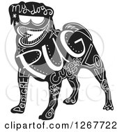 Clipart Of A Black And White Pug Dog With Text Royalty Free Vector Illustration by Prawny