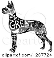 Clipart Of A Black And White Great Dane Dog With Text Royalty Free Vector Illustration by Prawny