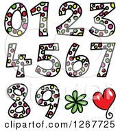 Clipart Of Colorful Sketched Dot Patterned Numbers Royalty Free Vector Illustration