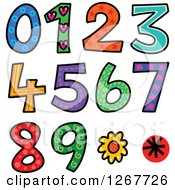 Clipart Of Colorful Sketched Patterned Numbers Royalty Free Vector Illustration