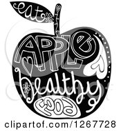 Clipart Of A Black And White Apple With Doodle Text Royalty Free Vector Illustration by Prawny