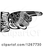 Clipart Of A Black And White Pointing Hand With Doodle Text Royalty Free Vector Illustration