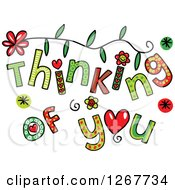 Clipart Of Colorful Sketched Thinking Of You Text Royalty Free Vector Illustration