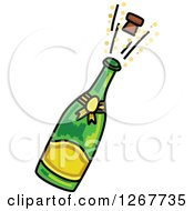 Clipart Of A Sketched Champagne Bottle And Popping Cork Royalty Free Vector Illustration