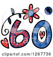 Clipart Of A Colorful Sketched Patterned Number 60 Royalty Free Vector Illustration by Prawny