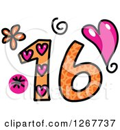 Clipart Of A Colorful Sketched Patterned Number 16 Royalty Free Vector Illustration by Prawny