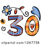 Clipart Of A Colorful Sketched Patterned Number 30 Royalty Free Vector Illustration by Prawny