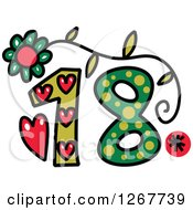 Clipart Of A Colorful Sketched Patterned Number 18 Royalty Free Vector Illustration by Prawny