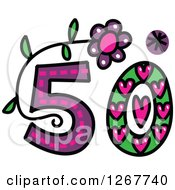 Clipart Of A Colorful Sketched Patterned Number 50 Royalty Free Vector Illustration by Prawny